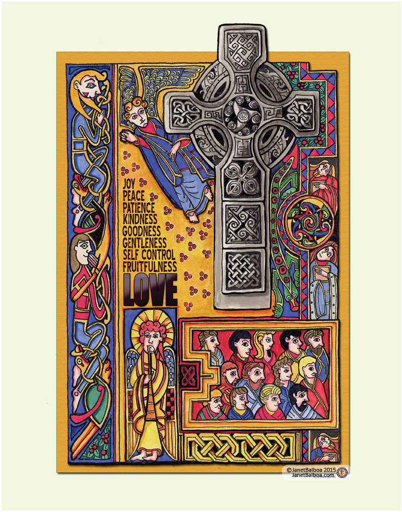 "The Book of Kells, marker and colored pencil, 11"" x 14"", janet balboa"