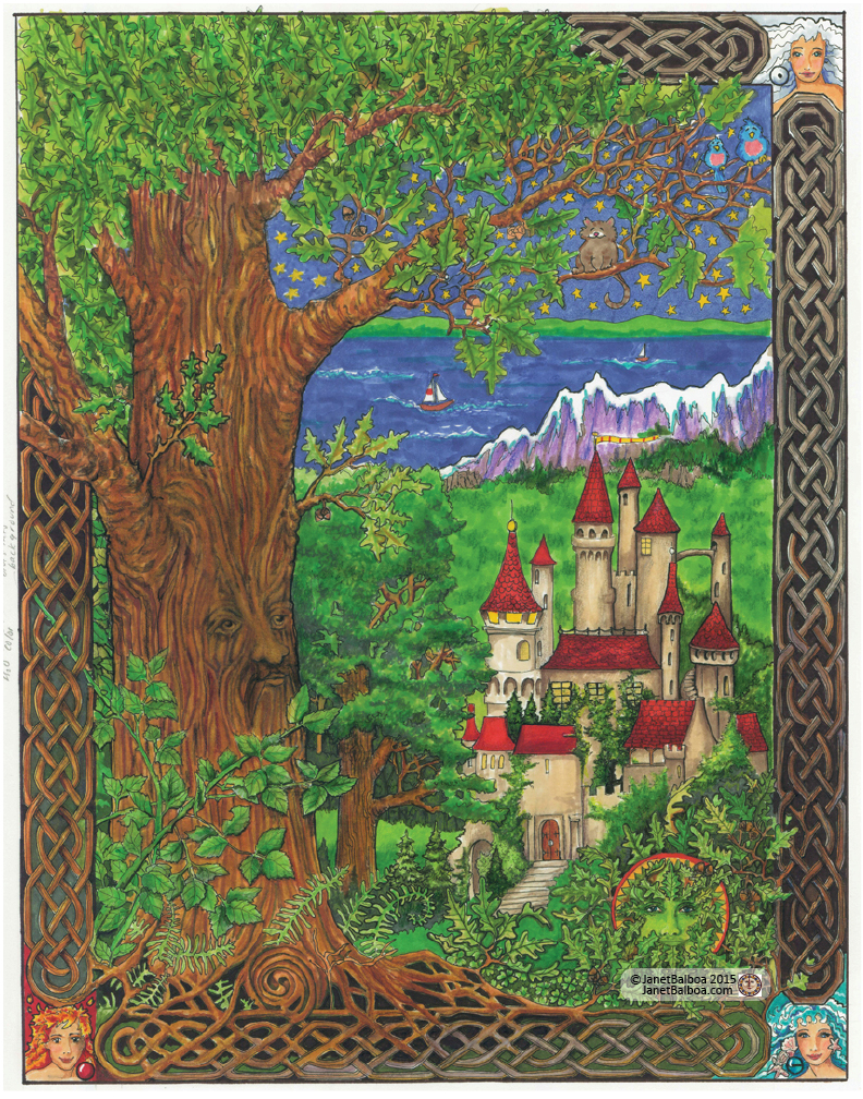 "Fairy Castle, marker and colored pencil, 11"" x 14"", janet balboa"