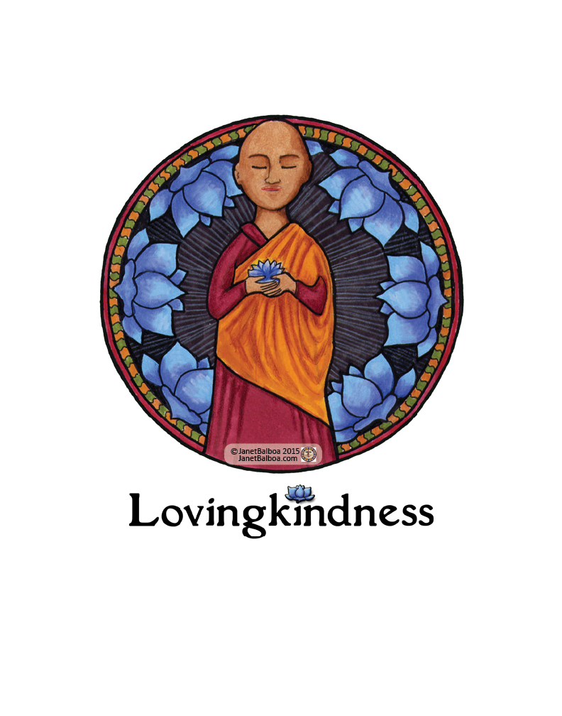 """Lovingkindness, marker and colored pencil, 11"""" x 14"""", janet balboa"""