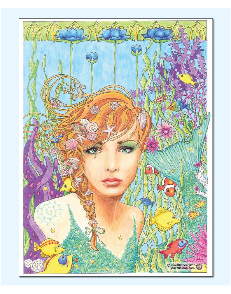 "Mermaid Dreams, marker and colored pencil, 11"" x 14"", janet balboa"