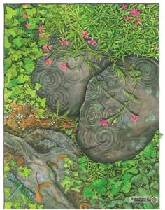 """Newgrange, marker and colored pencil, 11"""" x 14"""", janet balboa"""