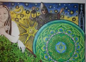 Telesphoros,  – Janet Balboa, Anam Cara detail, marker and colored pencil, 19″ x 24″ c. 2014