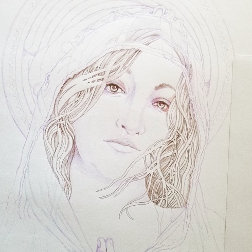 pencil sketch Mary Magdalene
