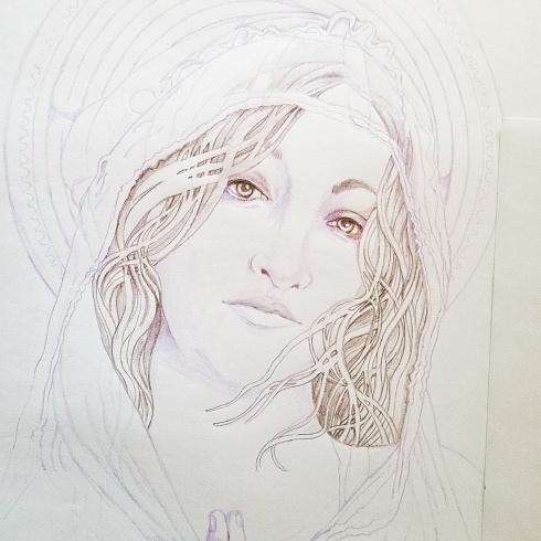 pencil sketch Mary Magdalene